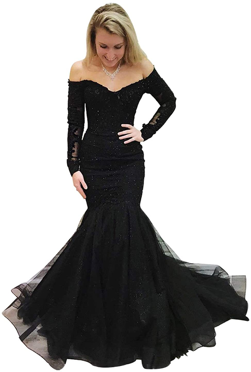 Womens Long Sleeves Lace Applique Mermaid Prom Dresses Ruffles Long Evening Gowns