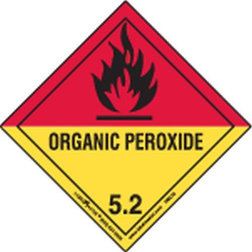 Labelmaster HMSL520 Organic Peroxide Worded Label, PVC-Free Film, Hazmat, 4