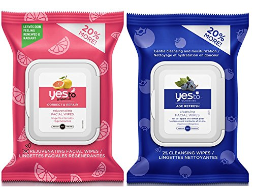 Yes to Grapefruit Rejuvenating Facial Wipes and Yes to Blueberries Cleansing Facial Wipes Bundle with Peppermint Oil, Safflower, Orange Peel and Lemon, 30 ct. each