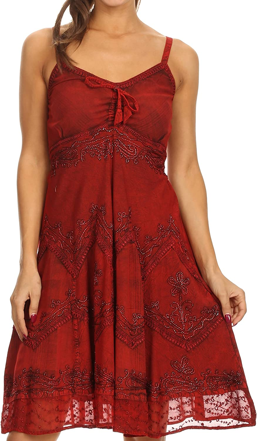 Sakkas Lacey Stonewashed Embroidered Silver Threaded Spaghetti Strap Dress