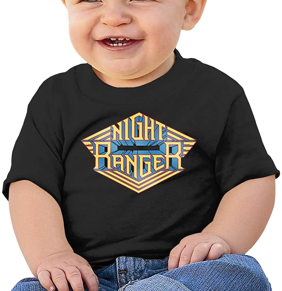6-24 Months Boy and Girl Baby Short Sleeve T-Shirt Night Ranger Original Minimalist Style Black