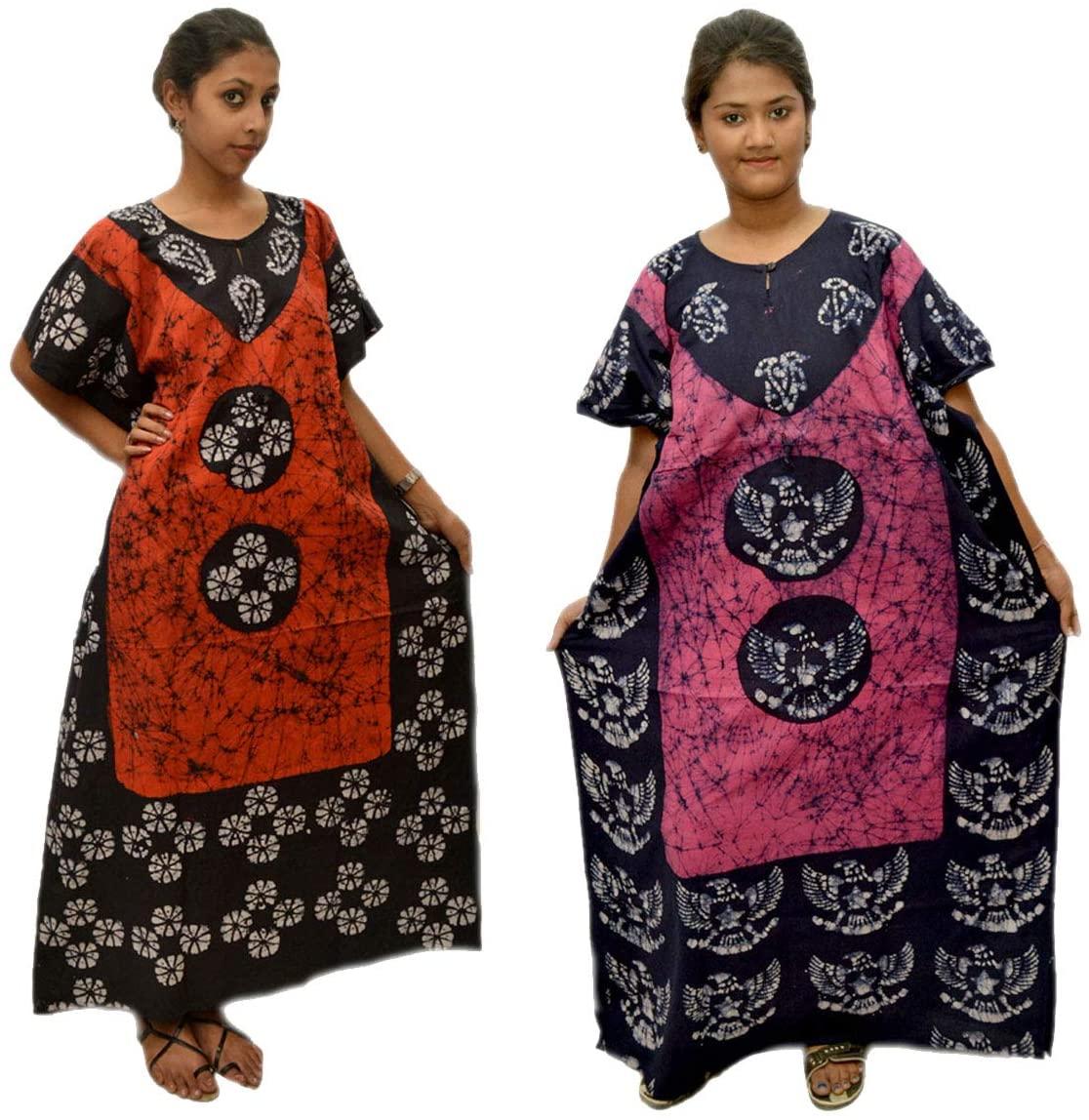 Creativegifts Cotton Caftan/Kaftan Combo 2 Indian Cotton Batik Bohemian Long Dress (feb-33)