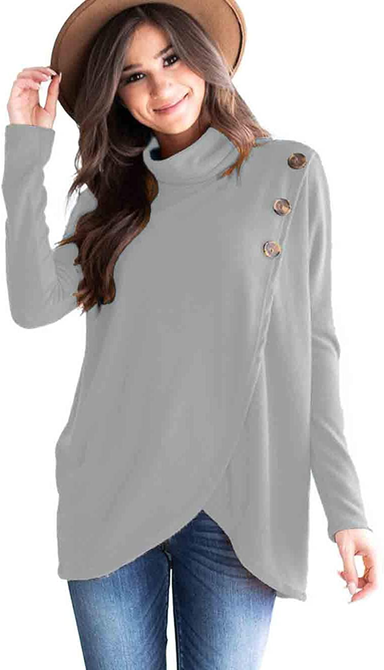 Famulily Womens Loose Cowl Neck Tunic Tops Long Sleeve Buttoned Wrap Shirt Pullover