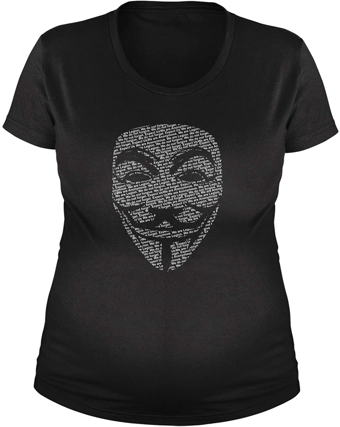 Expression Tees V for Vendetta Anonymous Mask Maternity Pregnancy Scoop Neck T-Shirt