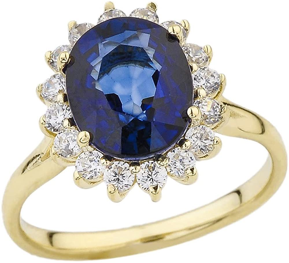 Elegant CZ Princess Diana Inspired Engagement Ring with September Birthstone in 14k Yellow Gold