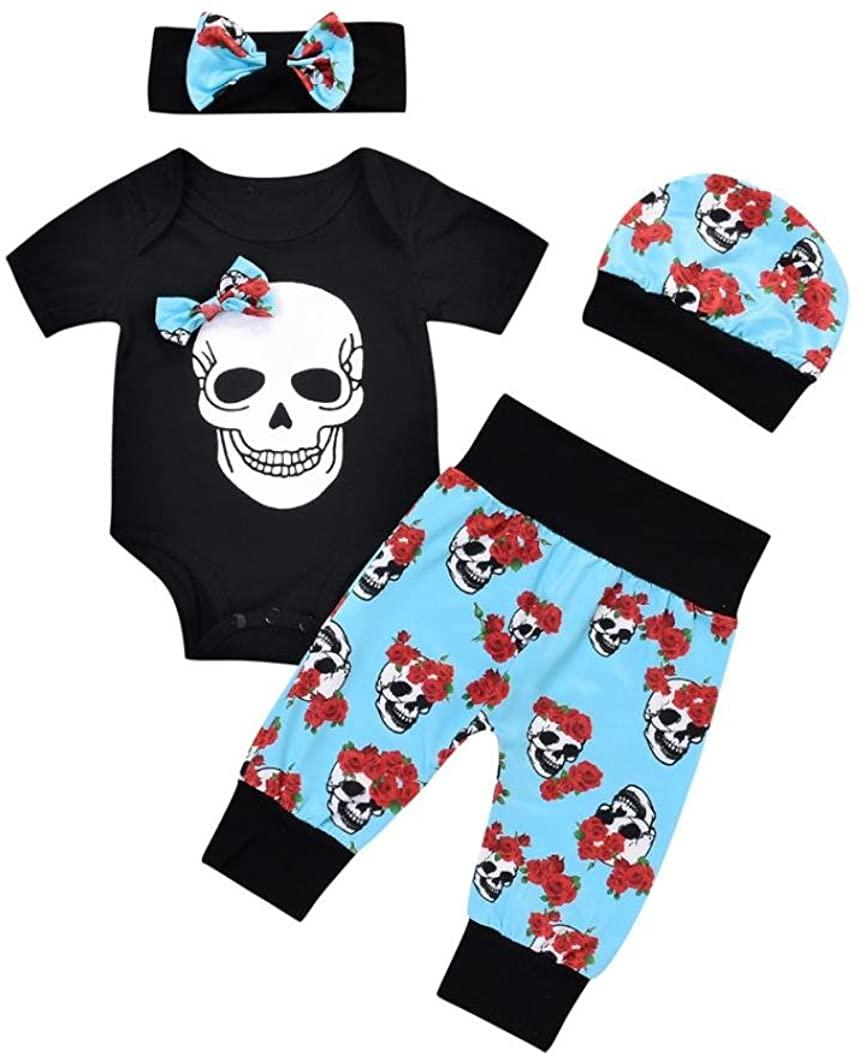 LNGRY Newborn Baby Girls Flower Skull Romper Jumpsuit Pants 4Pcs Suit Outfits
