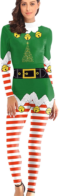 Soluo Womens Christmas Union Onesies Jumpsuit Santa Xmas Ugly One Piece Pajamas Sleepwear Sweatshirt