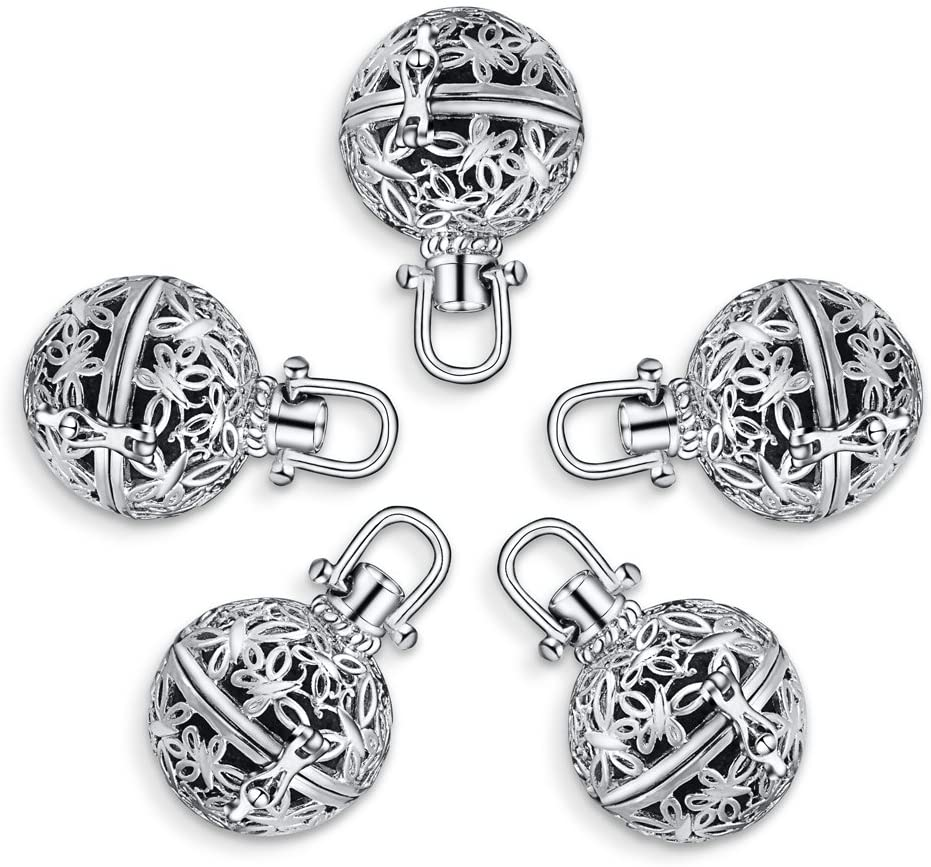 Romance Jewelry 5Pcs Rhodium Plated Diffuser Locket Aromatherapy Essential Oil Pendant Cage Locket with Lava Beads