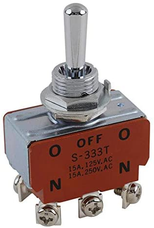 S333T - Toggle Switch, On-Off-On, DPDT, Non Illuminated, 15 A, Panel Mount, (Pack of 2)