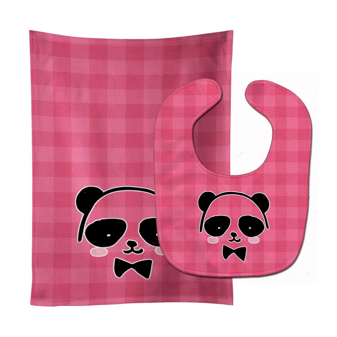 Caroline's Treasures BB7039STBU Panda Bear Pink Face Baby Bib & Burp Cloth, 11 x 18