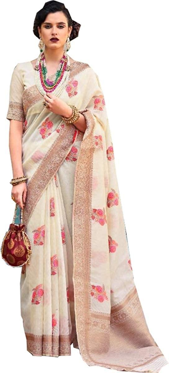 D&D Fashion New Latest Saree Designer Silk Sari Party Wear Banarasi Silk Saree Kanchipuram Silk Saree 127 Off White