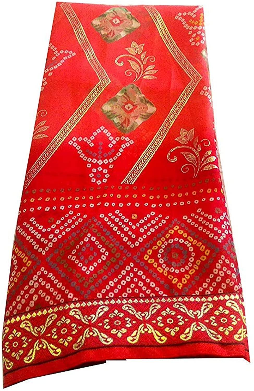 Bhagwati Women's Traditional Rajasthani Bandhani Saree with Fancy Border Export Quality Latest Bandhej Sari for Women Red