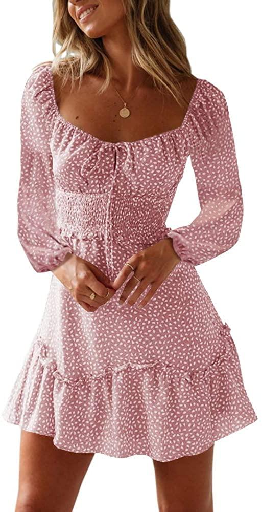 Lynwitkui Women's Printed Mini Dress Casual Crew Neck Ruffle Long Sleeve A Line Smocked Short Mini Dress