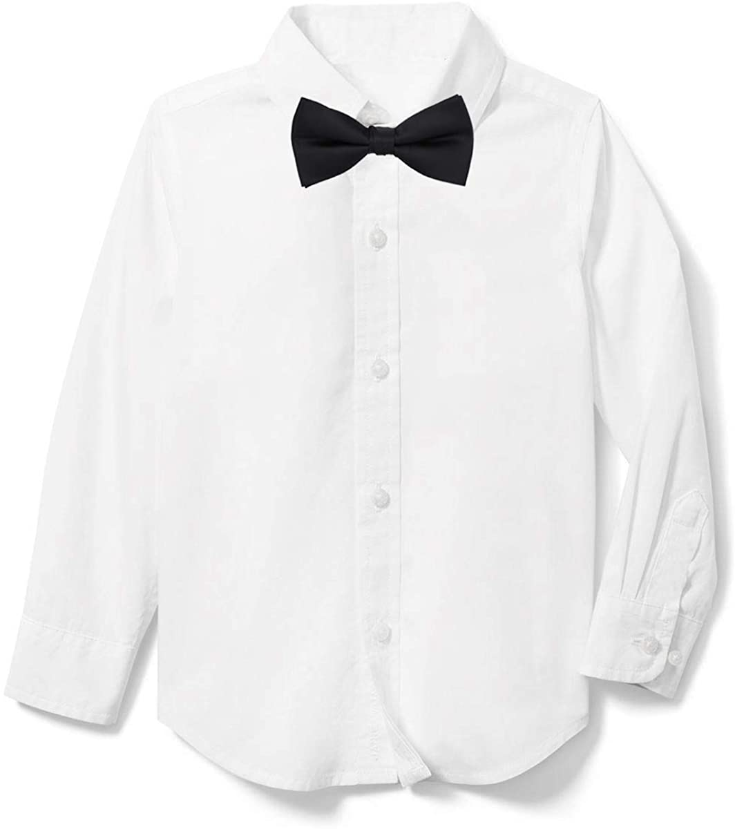 Rolanko Boys' Long Sleeve Dress Shirt, Boys White Tuxedo Button-Down Shirts with Bow Tie