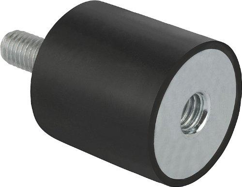 Kipp 26102-07504055 Galvanized Steel/Elastomer/Natural Rubber Metal Buffer, Style B, Metric, M12 Thread, 75 mm Diameter, 77 mm Length