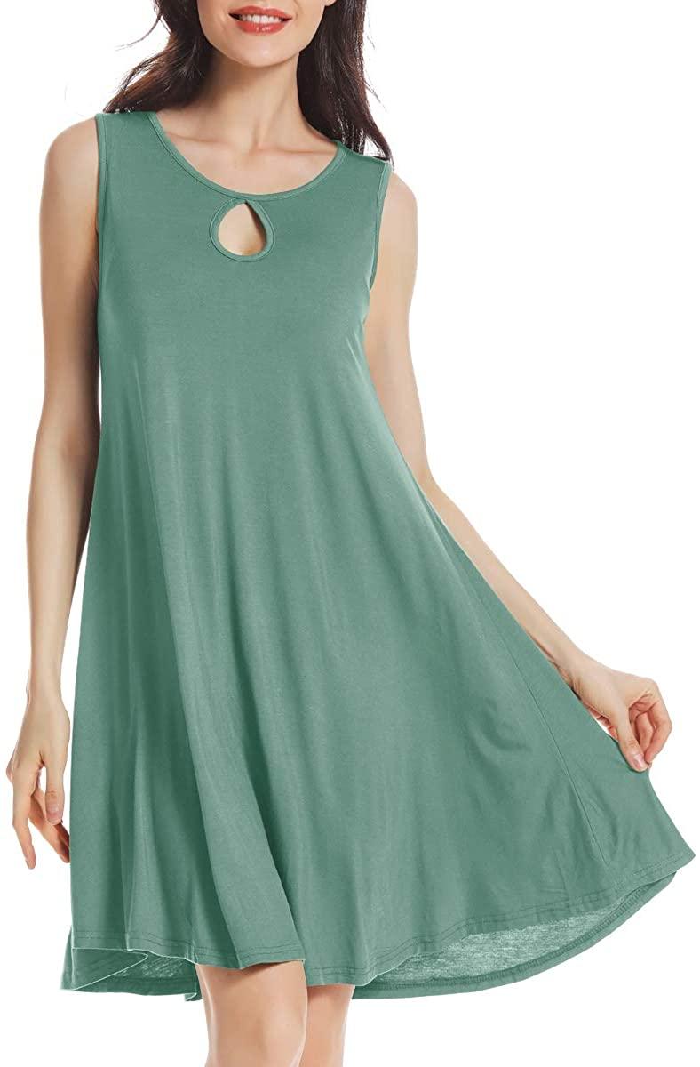 AUPYEO Women's Sleeveless Solid Tunic Tank Dress Casual Swing T-Shirt Dresses