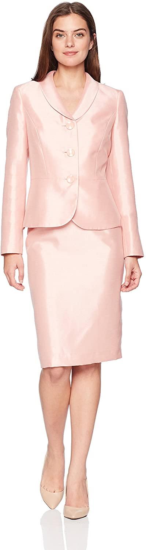 Le Suit Women's Shiny 3 Bttn Shawl Collar Skirt Suit