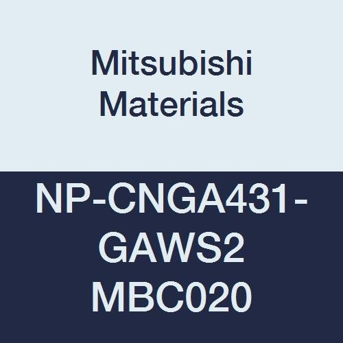 Mitsubishi Materials NP-CNGA431-GAWS2 MBC020 Coated CBN CN Type Petit Tip Negative Turning Insert with Hole, Rhombic 80°, GA Honing with Wiper, 2 Tip, 0.5