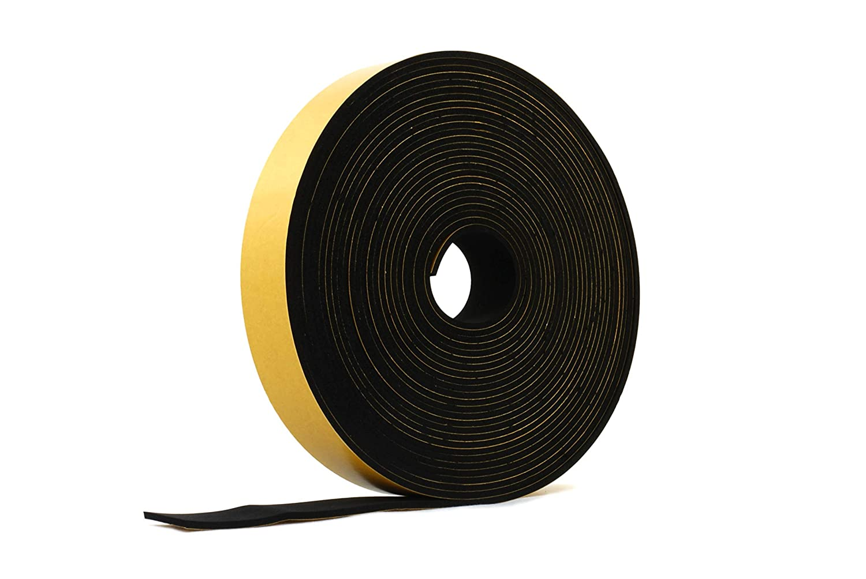 Neoprene Rubber Black Self-Adhesive Sponge Strip 1 3/16 Wide x 1/8 Thick x 33 feet Long