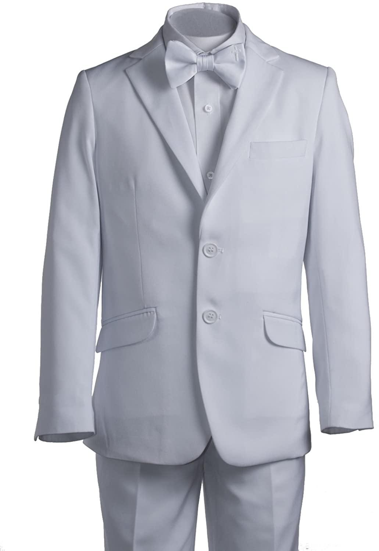 Boys White Slim Fit Communion Suit Suspenders & Religious Cross Bow Tie