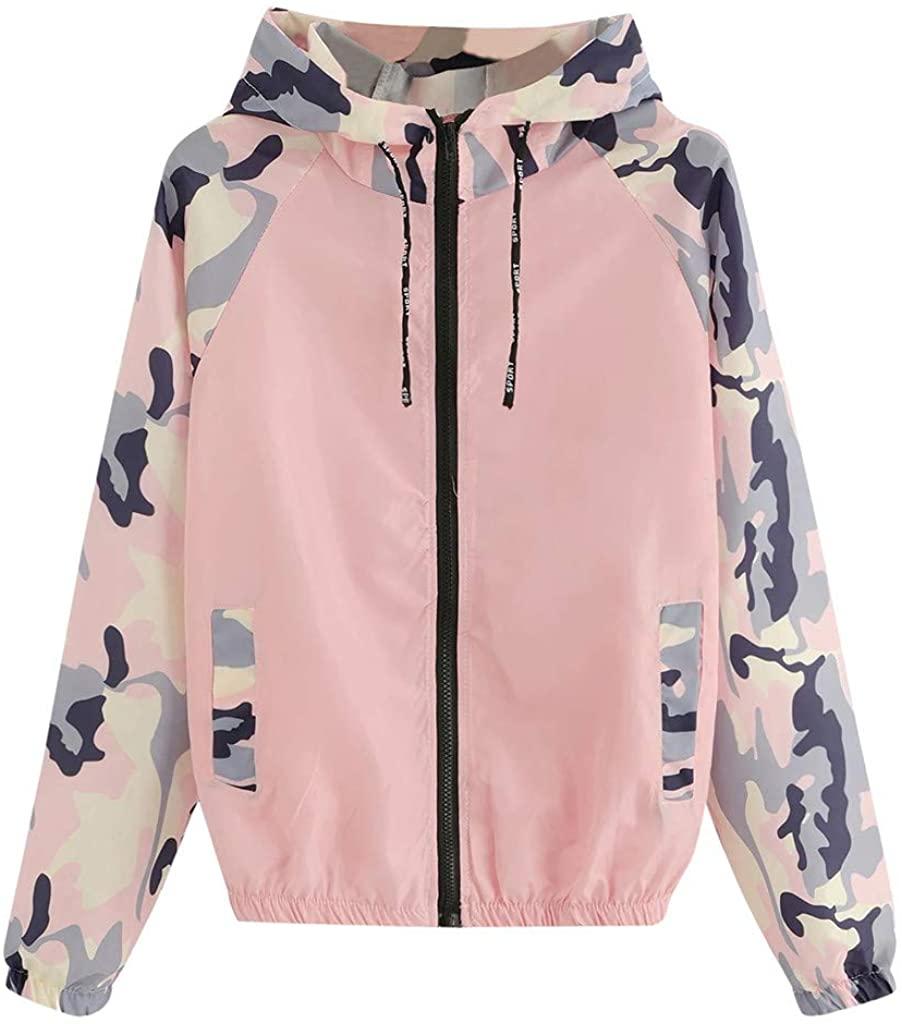 FEANO Long Sleeve Hooded Zipper Pockets Casual Patchwork Sport Coat for Women