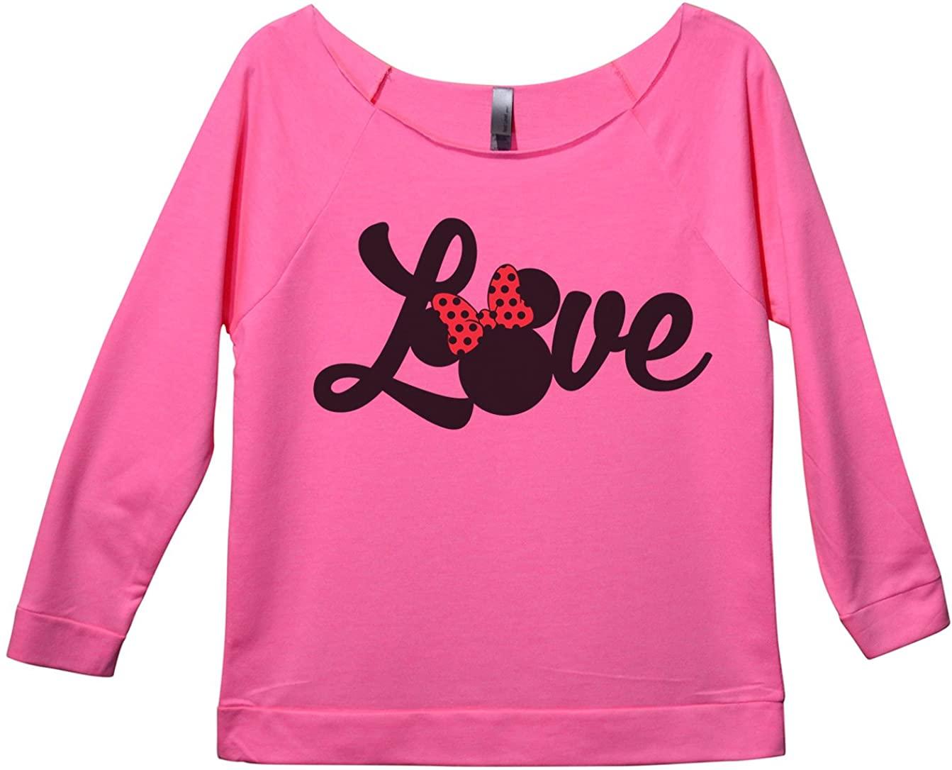 "Womens Minnie Mouse 3/4 Sleeve ""Love Disney World Sweat Shirt Gift"