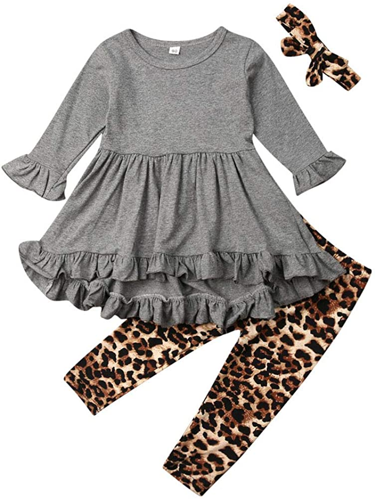 2Pcs Kids Toddler Baby Girl Long Sleeve T-Shirt Tops+Pants Outfit Set Fall Clothes (Gray+Leopard, 5-6T)