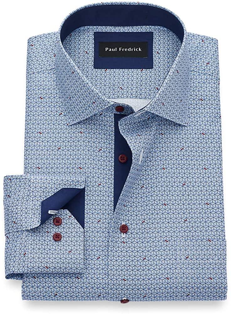 Paul Fredrick Men's T/f Non-Iron Cotton Geometric Print, Semi-Spread Collar, Mit