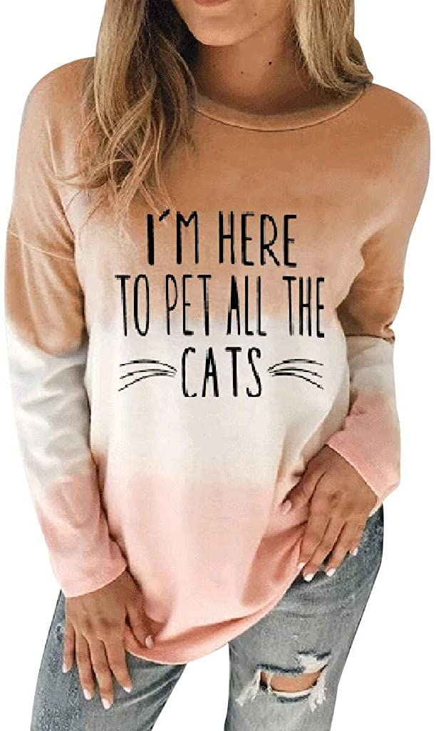 Oldlover-Women Casual Oversized Long Sleeve Color Block Pullover Blouse Tie Dyed Shirts for Women Cat Print Sweatshirt