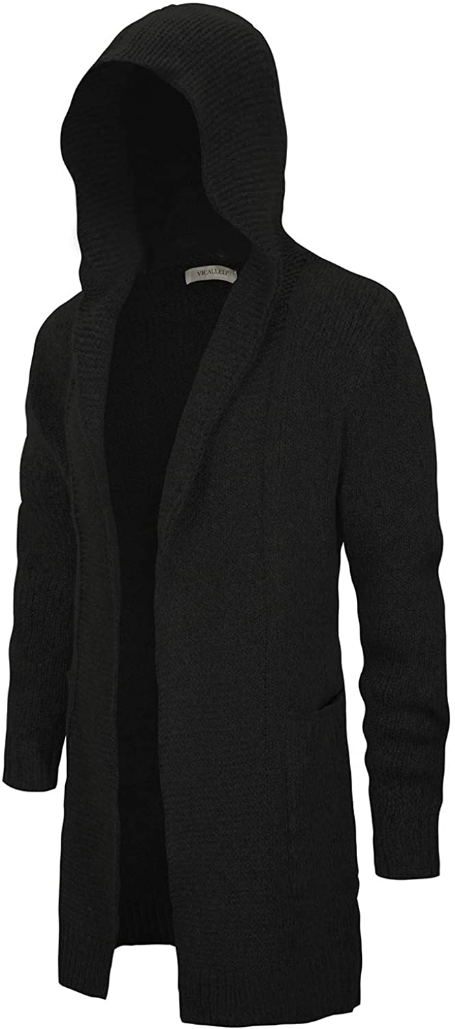 VICALLED Men's Long Cardigan Sweater Hooded Knit Slim Fit Open Front Longline Cardigans with Pockets