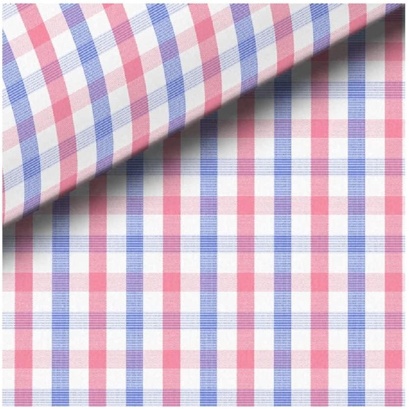 SÖKTAS Talinn Checked Shirt Fabric (2.4 Meters, Blue, Pink)