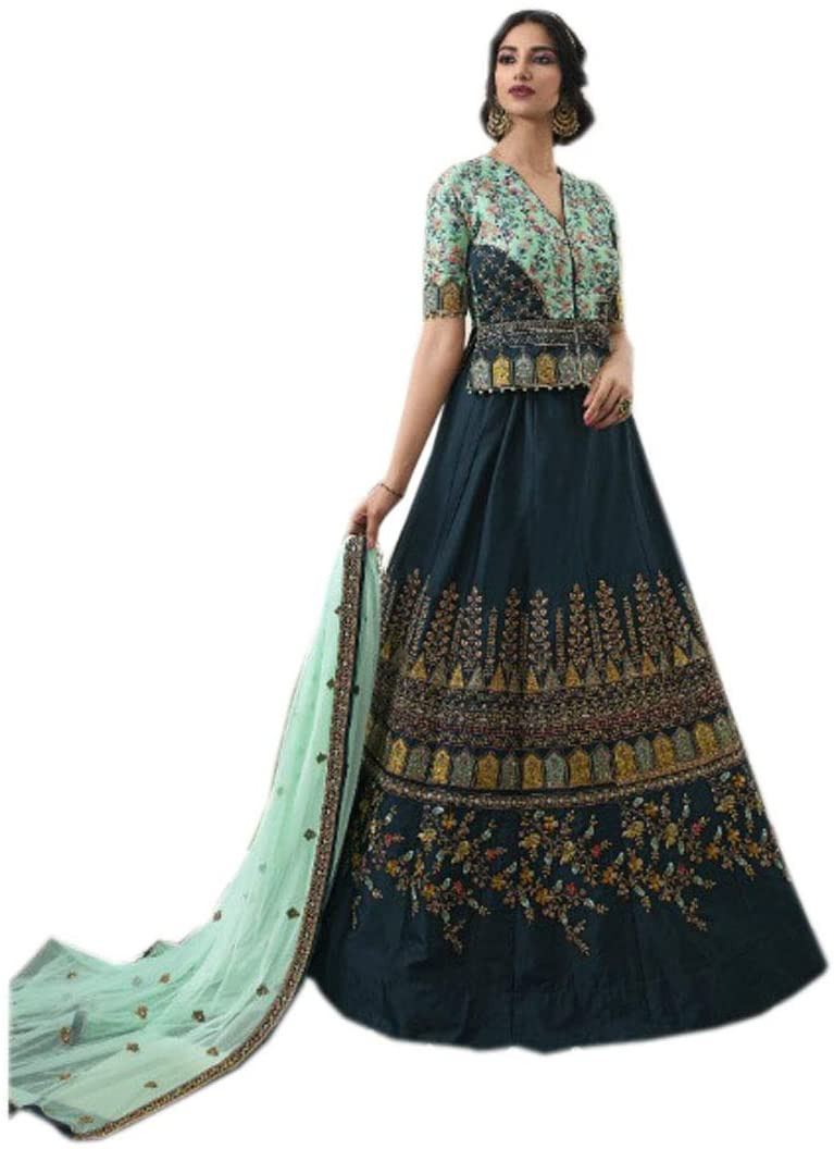 Peacock Blue Long Top Silk Royal Indian Embroidery Wedding Lehenga Women Chaniya Choli Dupatta Party Dress 9566