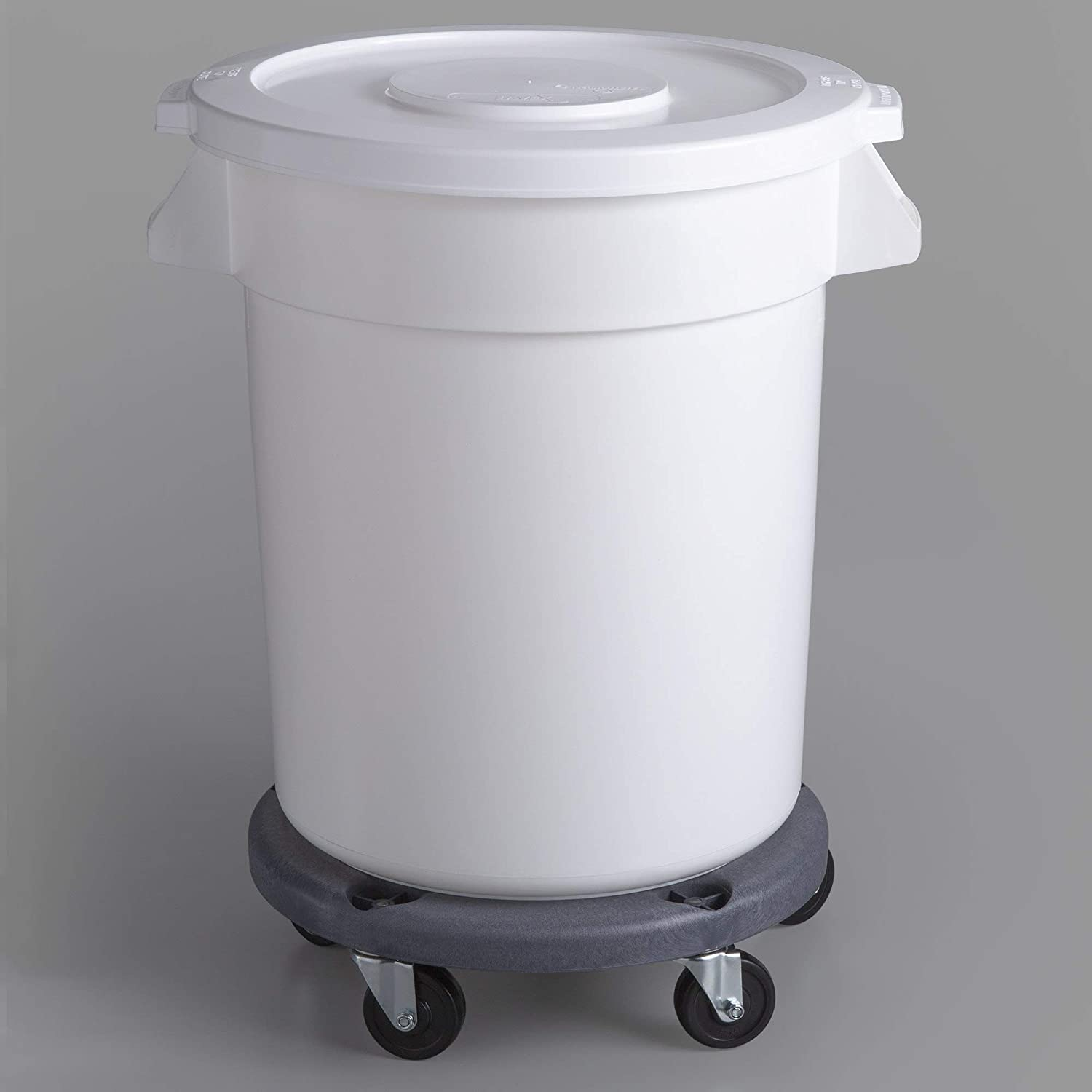 10 Pack! 20 Gallon / 75 Liters White Round Ingredient Bin/Commercial Trash Can with Lid and Dolly. Trash Container. Trash Bucket. Garbage Bin. Waste Bin. Home Trash Can. Commercial Waste bin
