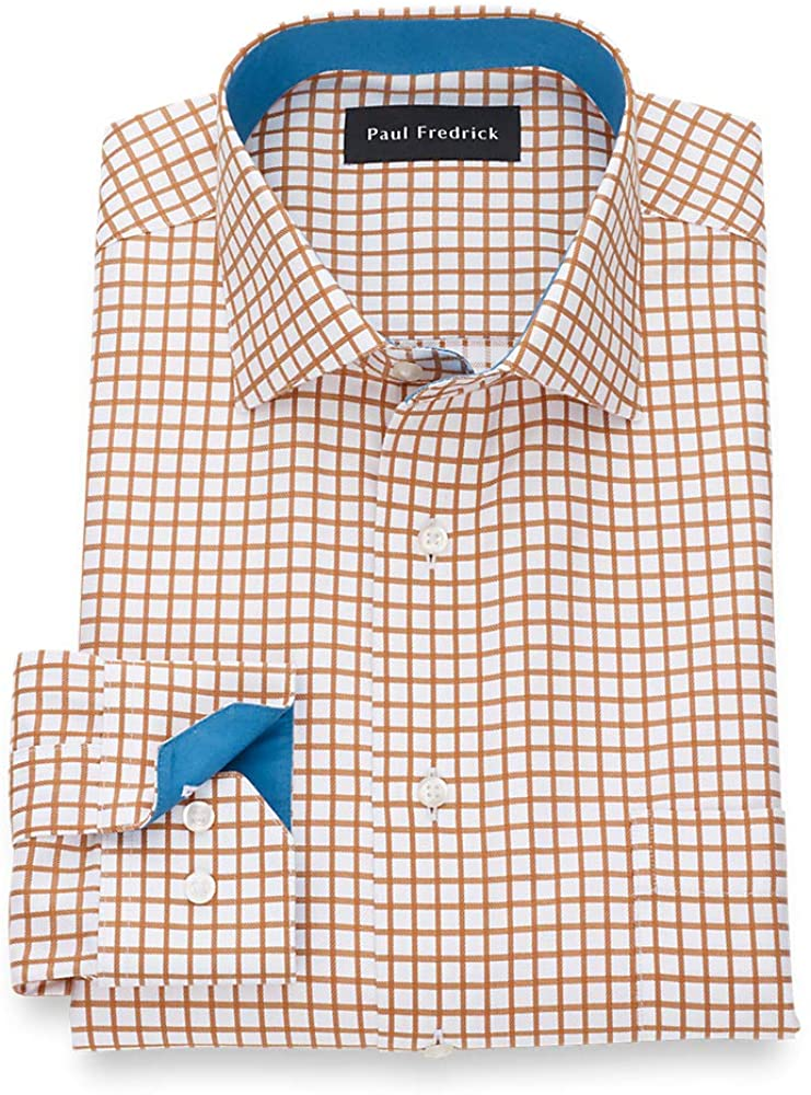 Paul Fredrick Men's Non-Iron Supima Cotton Check Dress Shirt