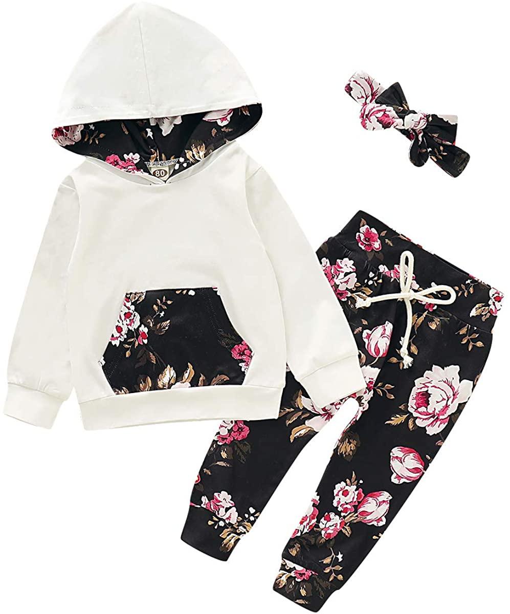 Newborn Baby Girls Winter Outfits Long Sleeve Flower Hooded + Pants + Headband Clothing Sets 3Pcs