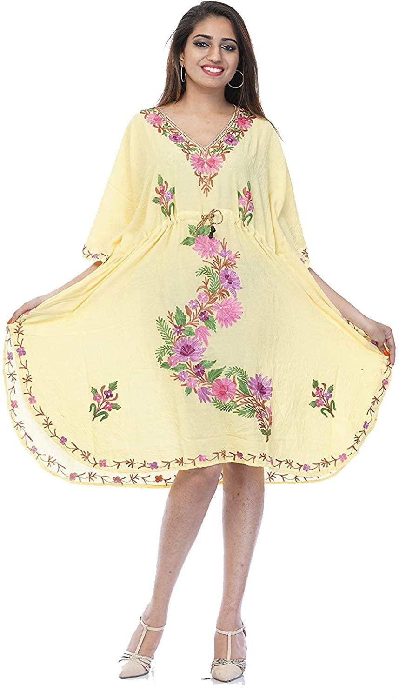Cotton Kaftan Kashmiri Embroidered Maxi Short Dress fo Women