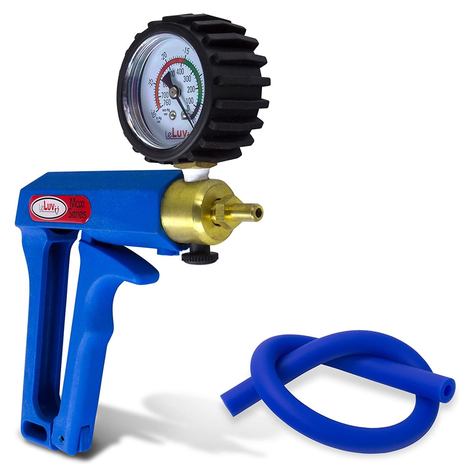 LeLuv Vacuum Pump Blue Maxi Ergonomic Handle with Protected Gauge with Release Valve with Matching Premium Silicone Hose