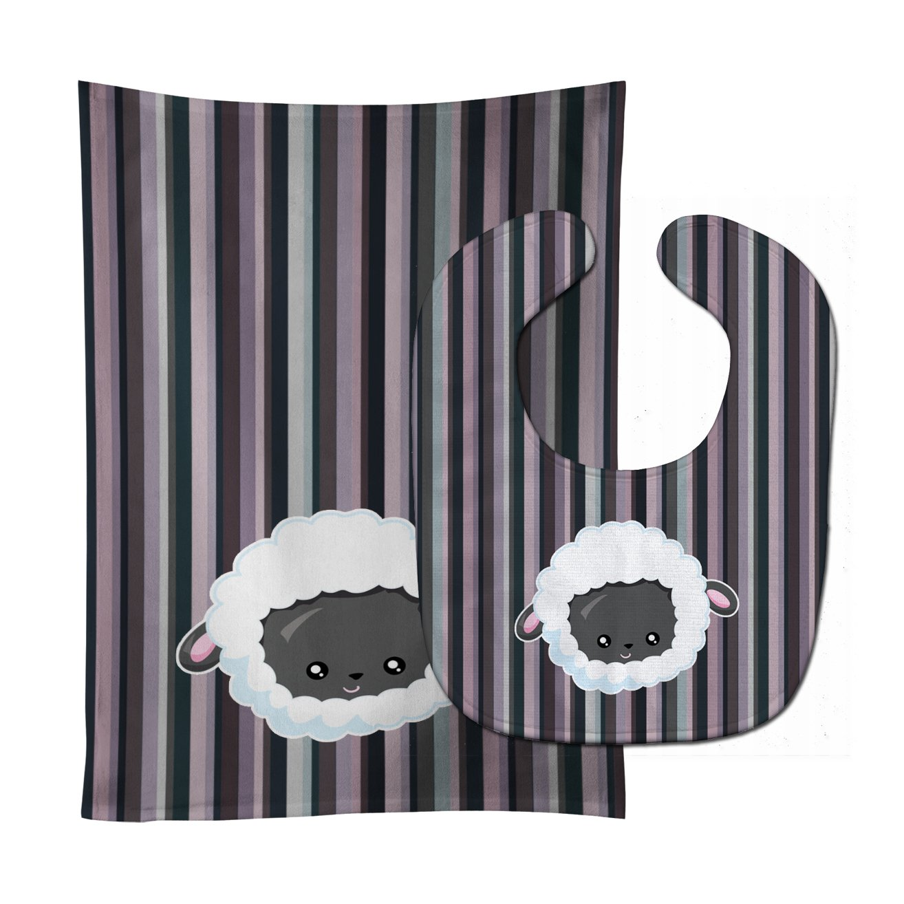 Caroline's Treasures BB6931STBU Black Sheep Lamb Face Baby Bib & Burp Cloth, 11 x 18