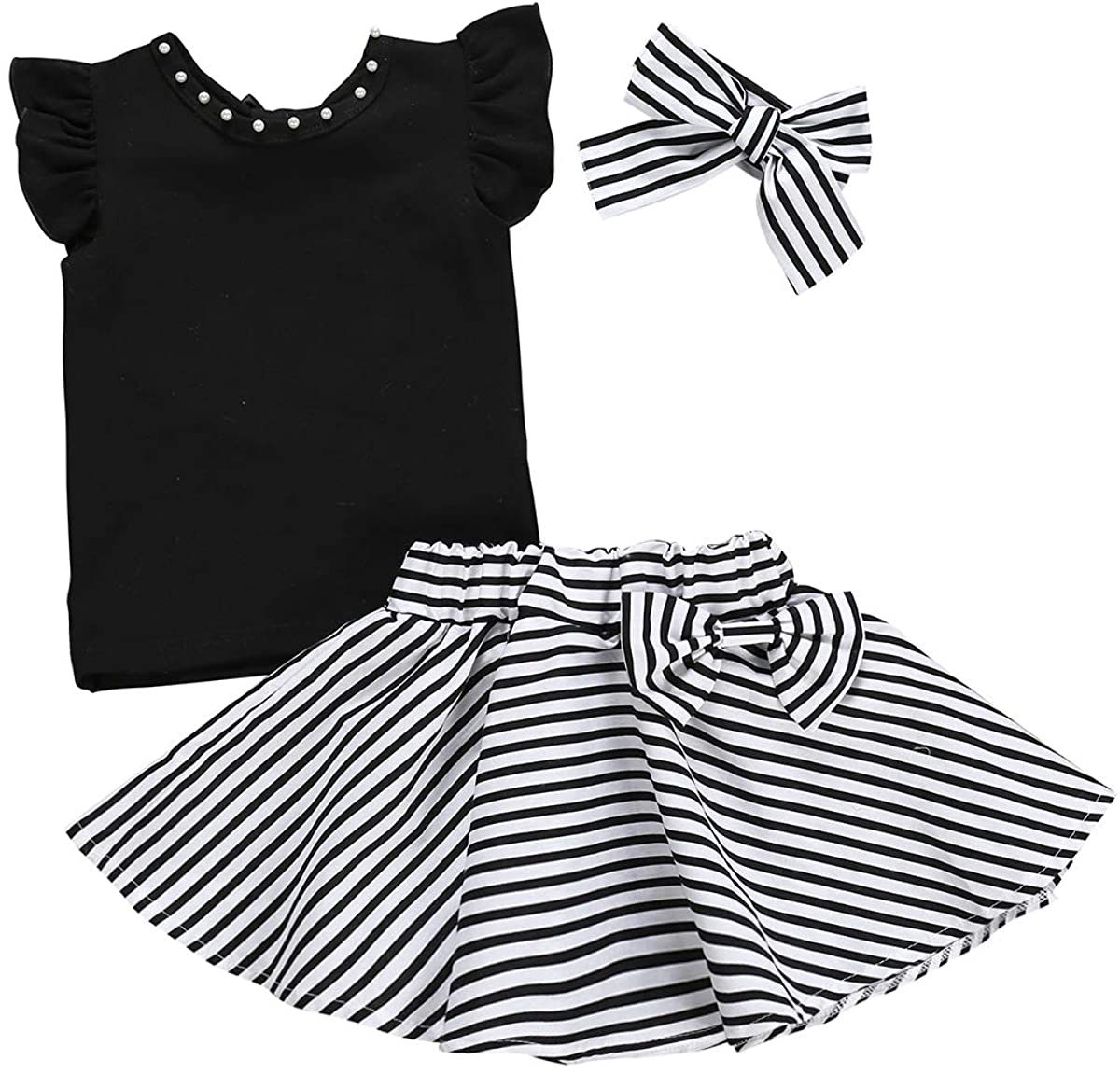 3Pcs Toddler Kids Girls Skirt Set Flare Sleeves Top+Black Striped Skirt Bow Summer Clothes Set