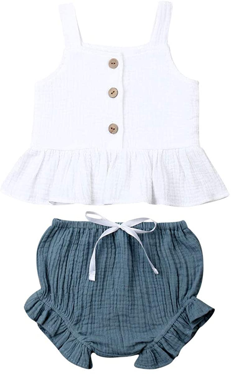 Newborn Baby Girls Summer Outfit Button Sleeveless Crop Tops + Mini Shorts 2pcs Clothing Set