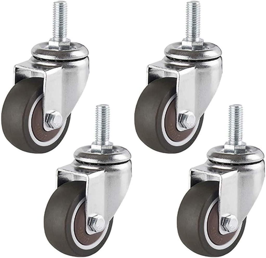 Swivel castor with parking brake 2 in 50 mm rubber castor 360 °Furniture roll set of 4 M8 M10 standard shaft load capacity 150 kg ball bearing (4 universal M10)