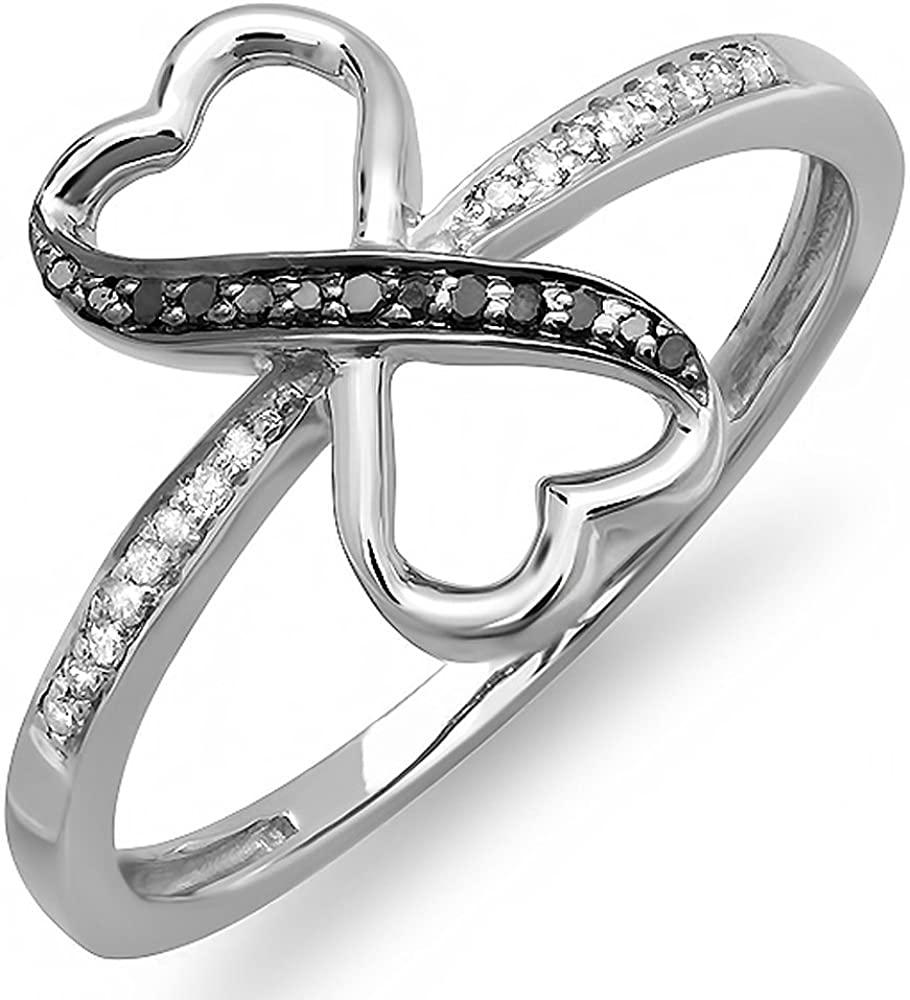 Dazzlingrock Collection 0.10 Carat (ctw) Round Black & White Diamond Ladies Engagement Ring 1/10 CT, Sterling Silver