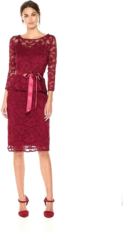 Chetta B Womens Plus Size 3/4 Sleeve Lace Peplum Dress