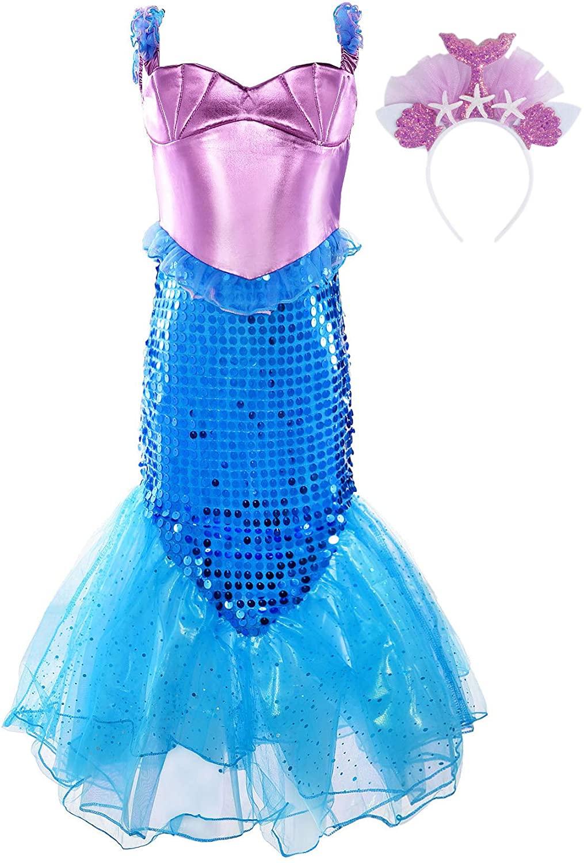 JerrisApparel Girls Princess Mermaid Costume Sequins Party Dress