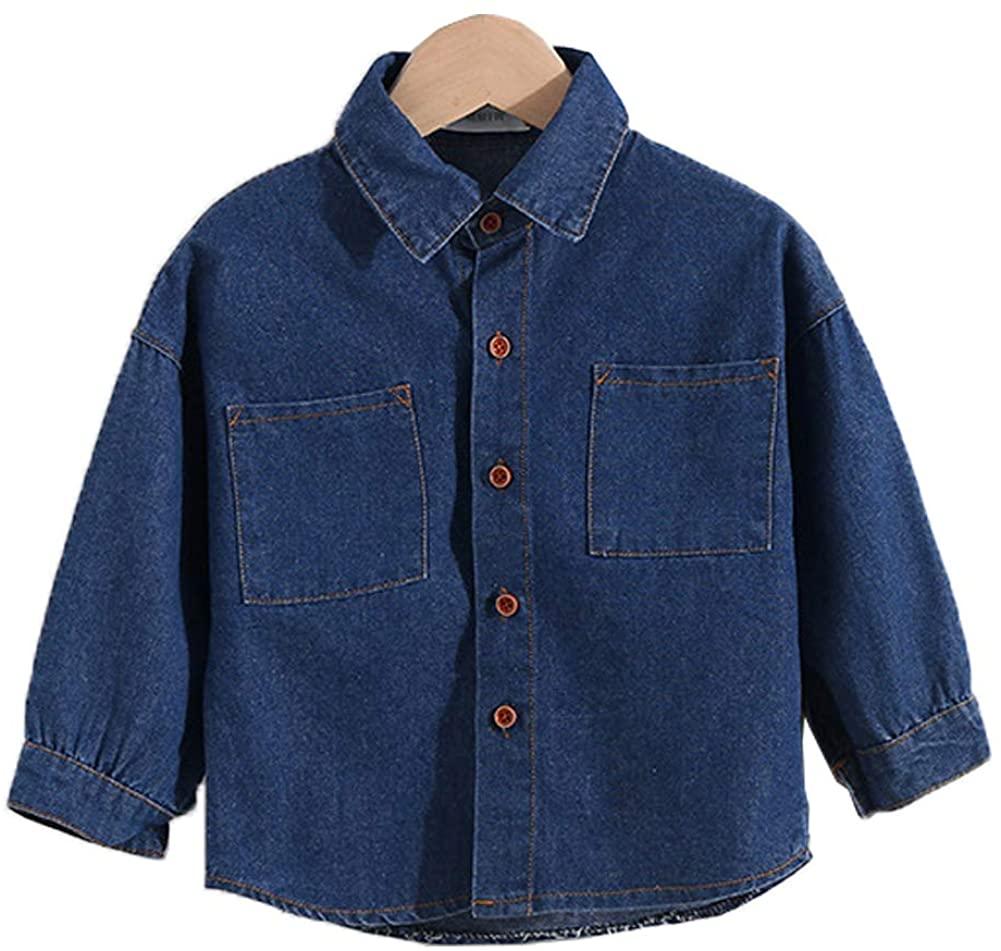 Peacolate 1-9Years Boys Spring&Summer Denim Thin Button-Down Shirts 1p