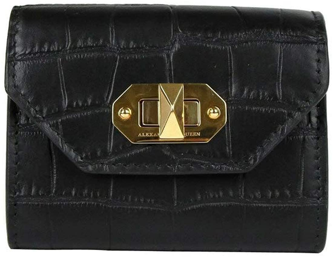 Alexander McQueen Women's Black Embossed Crocodile Leather Card Holder 492596 1000