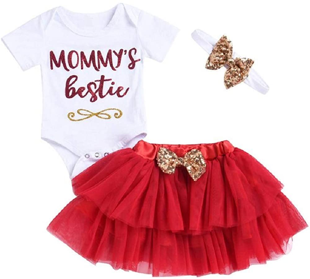 Mommy's Bestie Mother's Day or Birthday Red and Gold 3 Piece Skirt Set for Baby and Toddler Girls