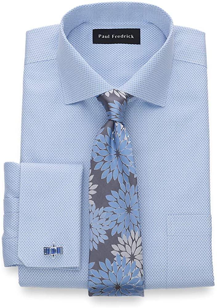 Paul Fredrick Men's Slim Fit Non-Iron Cotton Diamond Pattern Dress Shirt
