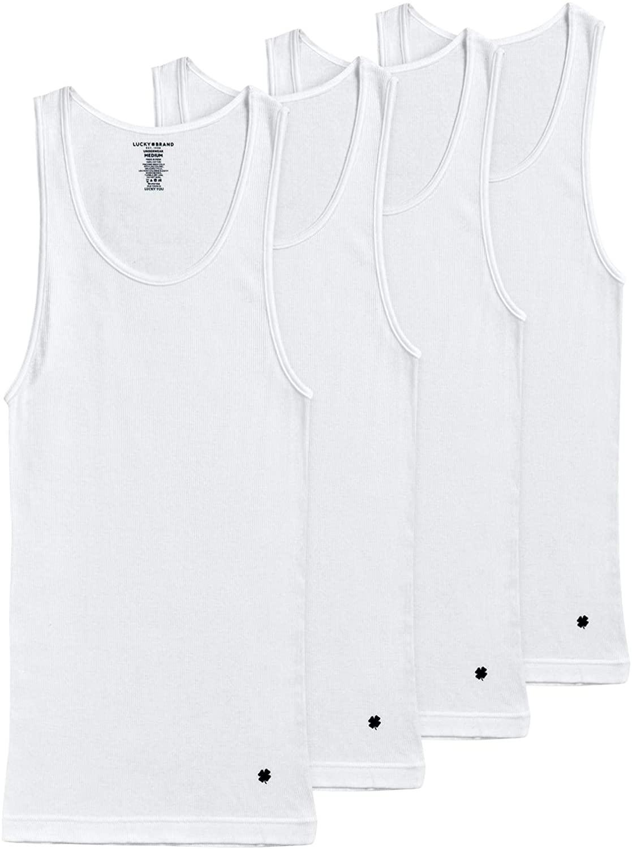 Lucky Brand Men's Classic A-Shirt Undershirt Tank Top (4 Pack)