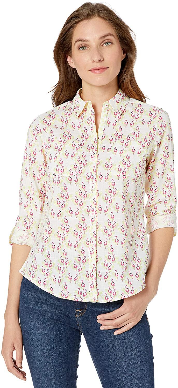 Foxcroft Women's Zoey Flamingo Wrinkle Free Shirt